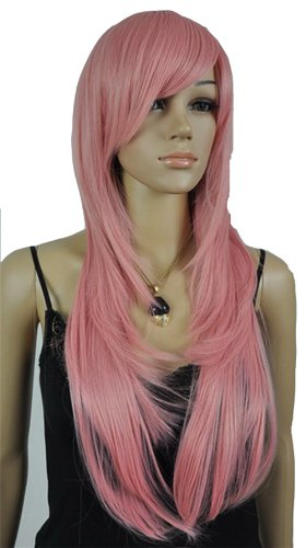 Qiyun Femme Pink Raide Longue Costume Cosplay Synthetique Cheveux Complete Perruque