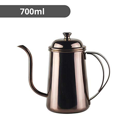 Roestvrijstalen giet koffiepotten en theeketel, druppelwaterkoker koffiezetapparaat Accessoires voor batterijhaarden, Rose goud 700ml