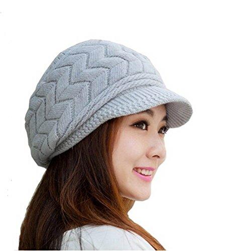 Gorro de invierno de Leorx de lana  para mujer  con visera plateado gris M