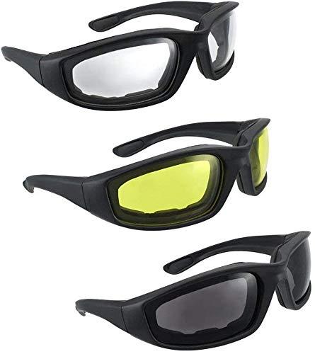 InterUS 3 Pair Motorcycle Riding Glasses Smoke Clear Yellow