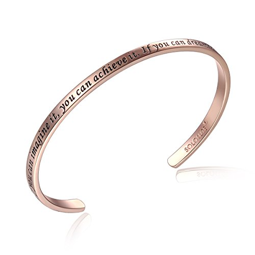 Solocute Rosegold Damen Armband mit Gravur If You Can Imagine It, You Can Achieve It. If You Can Dream It, You Can Become It Inspiration Frauen Armreif Schmuck