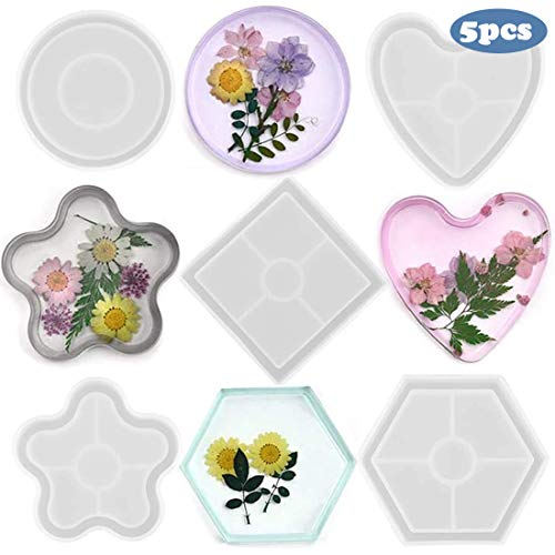 ORMAN 5 Pack DIY Silicone Coaster Resin Molds,Including Hexagon,Heart Shape,Square,Round and Flower Mold Bottom Bracket for Casting with Resin,Concrete,Cement,Home Decoration