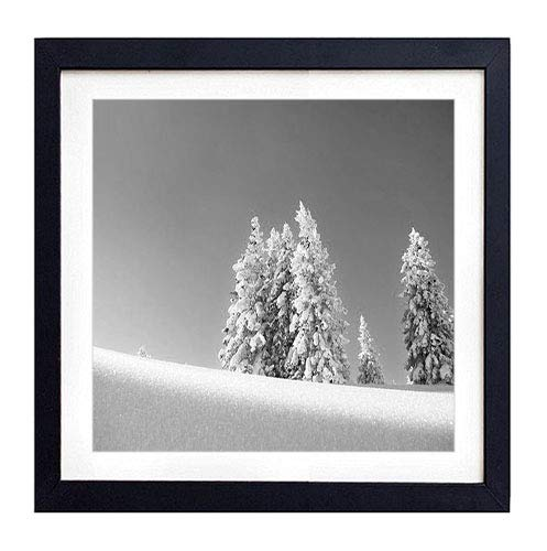 GLITZFAS PRINTS Framed Wall Art- fir-Trees Snow Winter Mountain Eminence- Art Print Black Wood Framed Wall Art Picture for Home Decoration - Black and White 18'x18' (45cmx45cm) - Framed