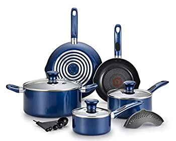 T-fal Excite ProGlide Nonstick Thermo-Spot Heat Indicator Dishwasher Oven Safe Cookware Set 14-Piece Blue