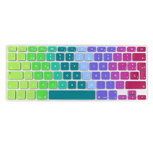 i-Buy Silicone Keyboard Cover Film for Macbook Air 13 Pro 13 Pro 15+ Touchpad Protector[teclado QWERTY español]- Rainbow