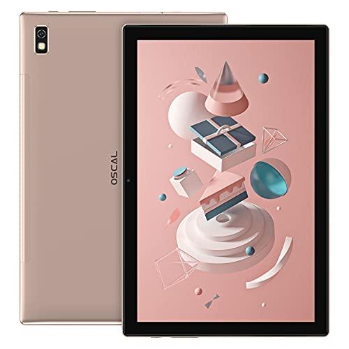 Tablet 10.1 Pulgadas 4G LTE+5G WiFi Android 11 OSCAL PAD8, 4GB RAM+64GB ROM (TF 128GB), Octa-Core, Batería 6580mAh, Tableta con Cámara 5MP+2MP,Dual SIM/Face ID/GPS/OTG/Bluetooth - Gold
