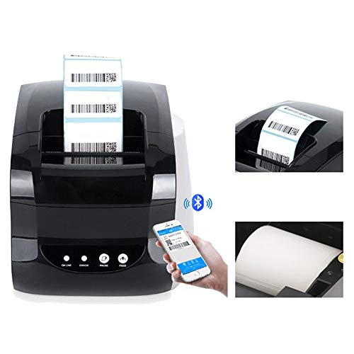 Thermal Label Printer, Direct Thermal Desktop Printer USB Bluetooth Connection 127mm/s Business Industrial Label Maker for Self-Adhesive Labels/Receipt/Barcode