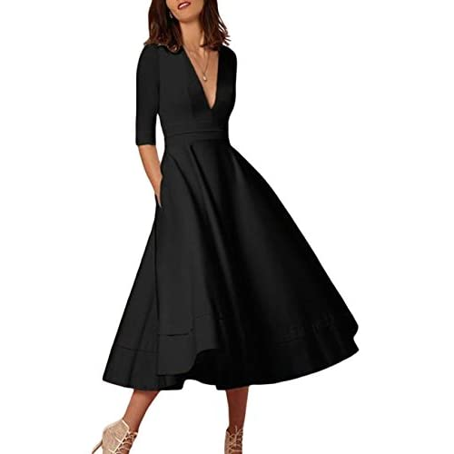 OMZIN Ladies Cocktail Dress Sexy Going Out Wedding Dress Basic Coton Occasion Dress S-XXXL