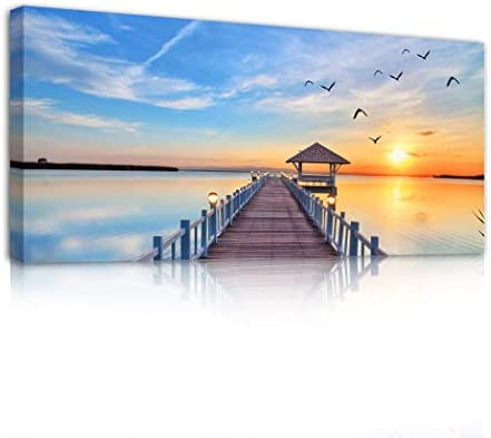 Sunset Trestle Ocean Landscape Wall Art Seascape Canvas Print Pictures Ready to Decorate Office product image