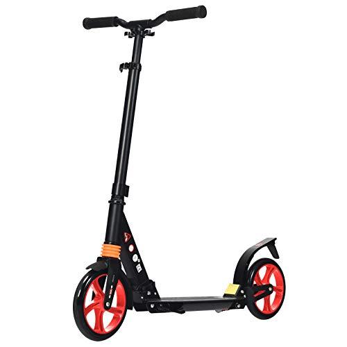 Goplus Scooter Pieghevole per Adulti e Adolescenti, Monopattino con 2 Ruote, Altezza Regolabile, con Freno a Pedale, 94x44,5X(88,5-104) cm (Rosso)