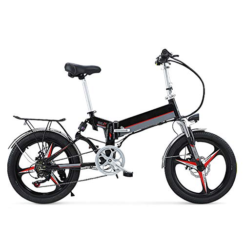 Mountain Bike Elettrica, Materiale in Acciaio al Carbonio Bici Elettrica Bici Pieghevole Ebike Pneumatici da 20 Pollici Bici Elettrica Pieghevole Motore 350W/48V 25KM/H,Nero
