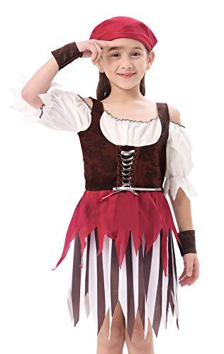 IKALI Disfraz Pirata Niños, Niña Rustic Maiden Bucanero Vestido, Falda Rover mar del Caribe 3-4años
