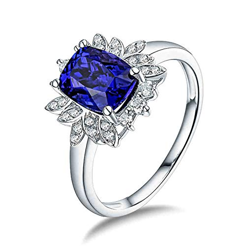Beydodo Anillo de Boda Mujer,Anillos Mujer Oro Blanco 18K Plata Azul Flor con Rectángulo Tanzanita Azul 1.92ct Diamante 0.19ct Talla 11(Circuferencia 51MM)