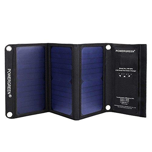 Caricabatteria solare, powergreen 21W Pannello Solare Pieghevole Portatile Con 2Porte USB per tutti i 5V dispositivi mobili