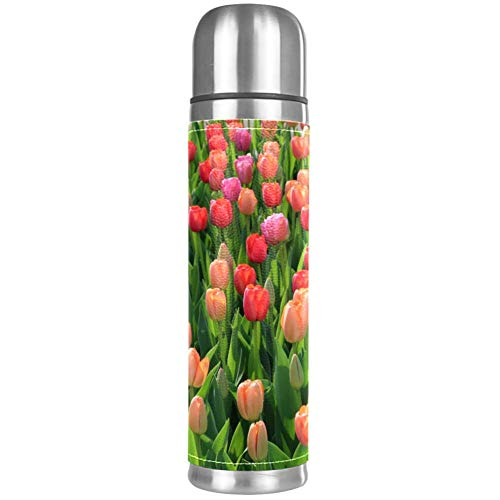 Tulip Garden Beverage Bottle, Stainless Steel Double Walled Vacuum Insulated with Leak Proof, Water Bottle Best Gift for Your Children 16.9oz