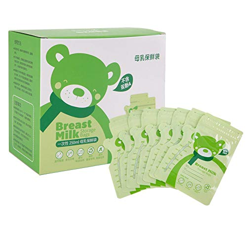 30PCS Latte Materno Borse di Stoccaggio 250ML Il Latte Materno Borsa di Stoccaggio Monouso Latte Materno Sacchetto Sigillato Cibo per Neonato latte Conservazione Borsa Contenitore(Green)