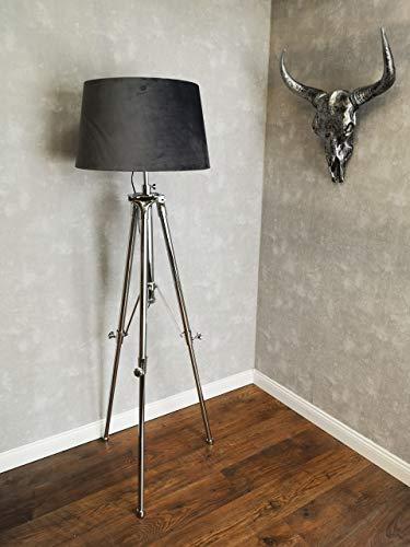 Stehlampe-Lampenfuss-Lampen-Stativ-Stehleuchte-Edelstahl-Massiv- Dreibein-Tripod