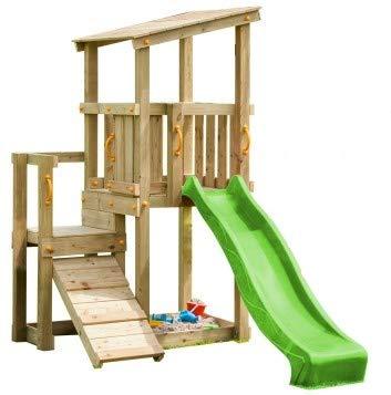 MASGAMES | Torre Cascade L con TOBOGAN | Plataforma a 1,2 m Altura | Anclajes incluidos | Arenero Debajo | Uso doméstico |