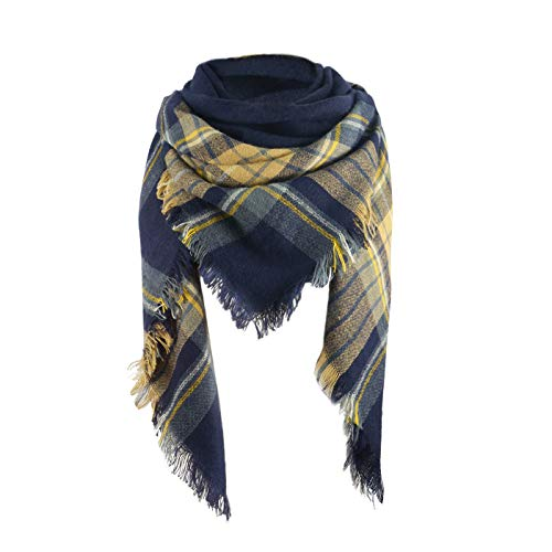 Women's Fall Winter Scarf Classic Tassel Plaid Scarf Warm Soft Chunky Large Blanket Wrap Shawl Scarves Yellow Navy