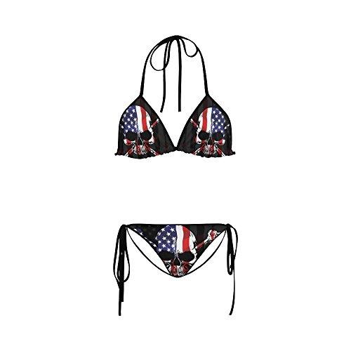 bikini Women Bathing Swimsuit Flag Skull Custom Set Beachwear