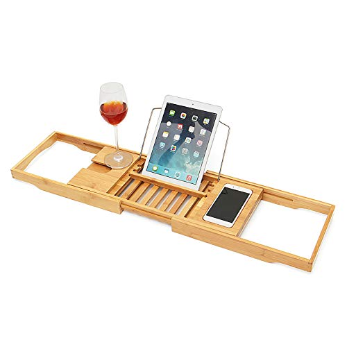 LABYSJ Premium Bamboo Bath Tray Caddy | Extendable Arms, Book/Tablet Holder, Wine Glass Holder | Extendable/Adjustable Bridge | Compact and Fits Most Bath Sizes