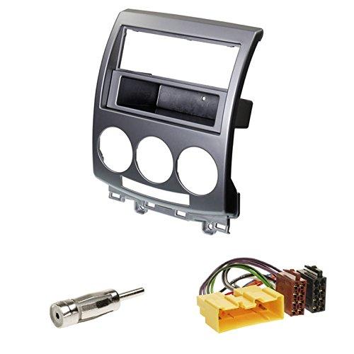 Einbauset : Autoradio Doppel-DIN Blende / 2-DIN Radioblende mit Ablagefach silber + ISO - Adapter • Antennenadapter ISO -> DIN für Mazda 5 Baujahr 2006 - 2012