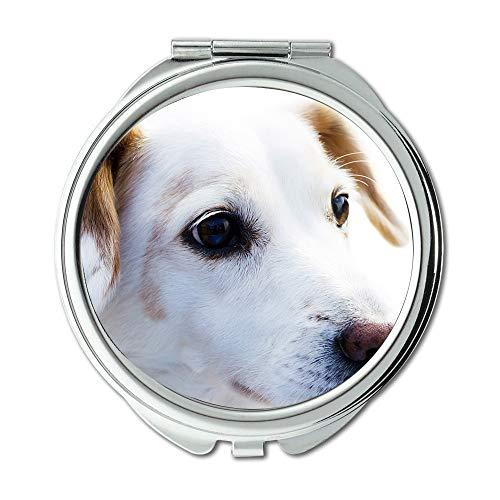Espejo de viaje, espejo de perro, lealtad de animal de perro, bonito reloj para perro, espejo de bolsillo, espejo portátil