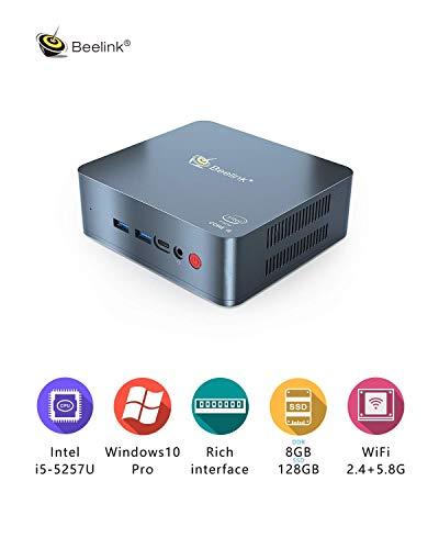 Mini PC Beelink U57 Windows 10 Desktop PC Intel Core i5-5257U Processor DDR3L 8GB /128GB SSD/Mini Computer/Dual HDMI Dual Display/BT4.0/Type C/4K PC/Support Expandable