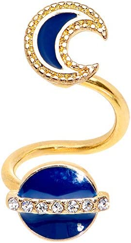 Body Candy Women 14G PVD Steel Blue Planet Moon Spiral Twister Belly Button Ring Cartilage Helix product image