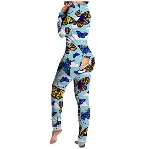 Mujeres de una Pieza Funcional con Solapa Abotonada Adultos Color sólido Mono Ropa de Dormir con Botones Delanteros Pijamas