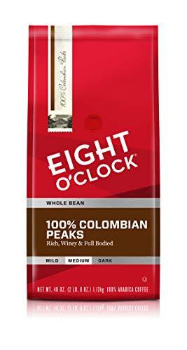 Eight O'Clock Coffee 100% Colombian Peaks, Medium Roast, Whole Bean Coffee, 40 Ounce (Pack of 1), 100% Arabica, Kosher Certified