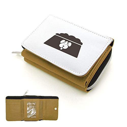 Mygoodprice Portefeuille à rabat porte-monnaie gamelle logo de chien Beige