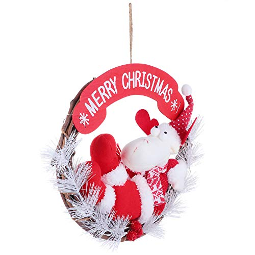 TOYANDONA Plush Reindeer Doll on Wreath Merry Christmas Wreath Grapevine Wreath Holiday Wreaths for Christmas Door Tree Hanging Decoration Supplies