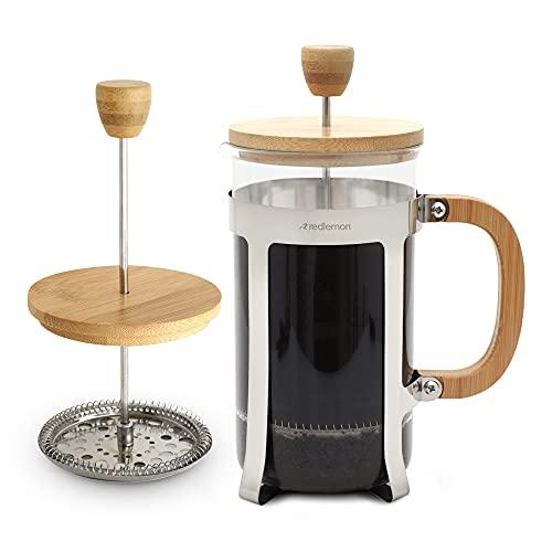 Redlemon Cafetera Prensa Francesa de Bambú (1 Litro) para Café, Acero Inoxidable de Grado Alimenticio con Filtro Integrado y Vidrio Resistente a Altas Temperaturas, Ideal para Café Molido con Molino