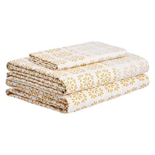 AmazonBasics Organic Percale Cotton Sheet Set with Frayed Hem - Twin XL, Petal Geo