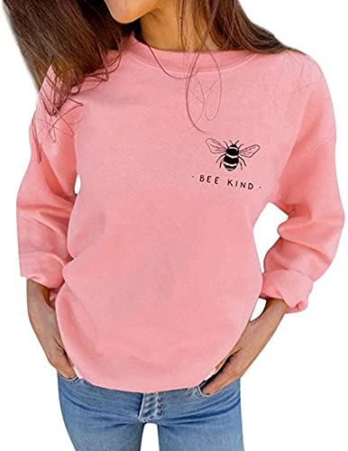 BUTERULES Clearance Sale! Women's Autumn Sweatshirts Bee Kind Letter Print Casual Loose Blouses