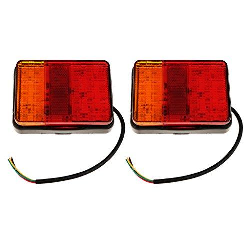 Baoblaze 2 Pièces Carré Feux LED Plaque D'immatriculation Lampe Frein Feu Inverse Rouge