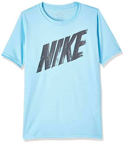 Nike Jungen B Nk Dry Top Ss Hemd, Rot/Blau (Habanero red/Photo Blue), L