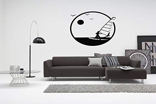 Tianpengyuanshuai Windsurf Vela Vinilo calcomanía Pared salón sofá Fondo Decorativo Mural Autoadhesivo Impermeable Pegatinas 82.5 x 63cm