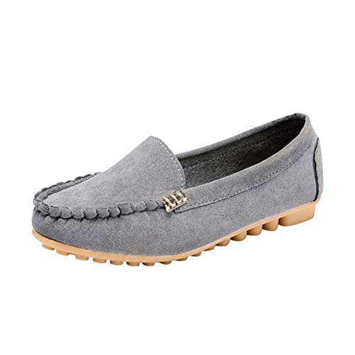 Women's Suede Leather Flat Loafer Work Shoes Casual Round Toe Comfort Walking Shoes Slip On Flats Shoes Gray