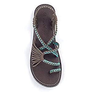 Plaka Palm Leaf Flat Summer Sandals for Women | Perfect for the Beach Walking & Dressy Occasions | Turquoise Gray | Size 8
