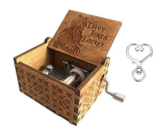 Cuzit manovella in legno carillon pirati dei Caraibi Davy Jones medaglione in legno, motivo: Music Box
