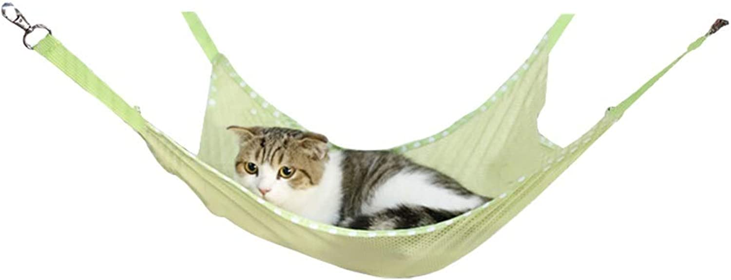 Albabara Cat Hammocks Bed Use Soft Sleepy Pad, Small Pet Mesh Hammock for Kitten, Ferret,Bunny, Rabbit, Rat Comfortable Pet Hanging Bed Easy to Attach to a Cage or Chair