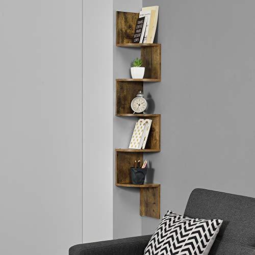 [en.casa] Scaffale Angolare a Forma di Zig Zag con 5 Ripiani 123 x 19,5 x 19,5 cm Libreria da Parete in MDF - Color Noce