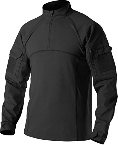 CQR メンズ シャツ 長袖 ミリタリー コンバットシャツ TOS201-BLK_XL