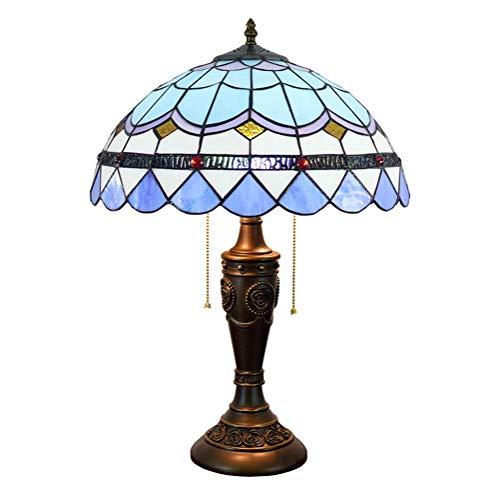 ZGQA-GQA Tiffany Lampada da Tavolo Blu Mediterraneo Ombra 16 Pollici Stained Glass Stile Tiffany al Coperto (40cm) Soggiorno Lampada da Comodino Lampada