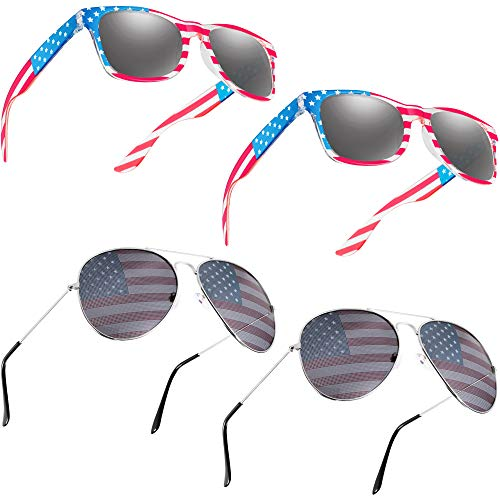 4 Pairs USA America American Flag Sunglasses American Retro Classic Eyewear Sunglasses for 4th of July Independence Day