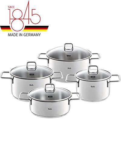 Fissler münchen / Edelstahl-Topfset, 4-teilig, Kochtopf-Set, Töpfe mit Glas-Deckel, Induktion, alle Herdarten (3 Kochtöpfe, 1 Bratentopf)