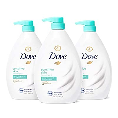 Dove Body Wash Hypoallergenic and Sulfate Free Body Wash Sensitive Skin Effectively Washes Away Bacteria While Nourishing Your Skin 34 oz 3 Count