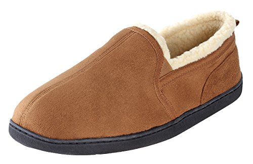 Urban Fox Dixon Suede Slippers Men I Rubber-Sole with grips I Thickly Padded I 100% boa lining I Comfortable House Slippers I Slippers for Men I Closed Toe & Heel for Men I Chestnut - US 10-11